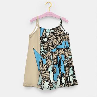 Thumbnail image of drawing and sketching abstract in blue with brown background Girl's dress, Live Heroes