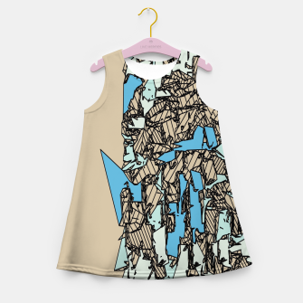 Thumbnail image of drawing and sketching abstract in blue with brown background Girl's summer dress, Live Heroes