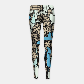 Thumbnail image of drawing and sketching abstract in blue with brown background Girl's leggings, Live Heroes