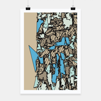 Thumbnail image of drawing and sketching abstract in blue with brown background Poster, Live Heroes