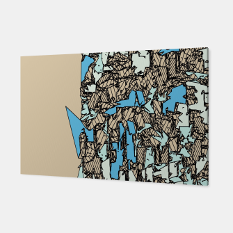Thumbnail image of drawing and sketching abstract in blue with brown background Canvas, Live Heroes