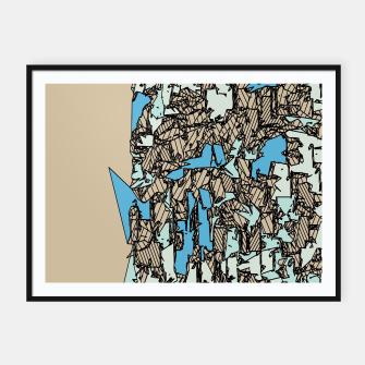 Thumbnail image of drawing and sketching abstract in blue with brown background Framed poster, Live Heroes