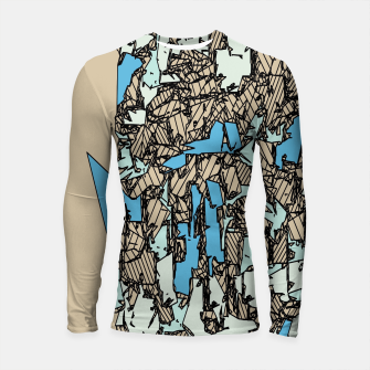 Thumbnail image of drawing and sketching abstract in blue with brown background Longsleeve rashguard , Live Heroes