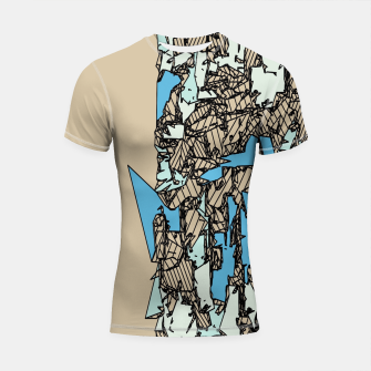 Thumbnail image of drawing and sketching abstract in blue with brown background Shortsleeve rashguard, Live Heroes