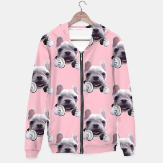 Thumbnail image of French Bulldog Cotton zip up hoodie, Live Heroes