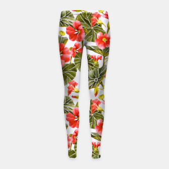 Thumbnail image of Nasturtiums watercolor Leggings para niña, Live Heroes
