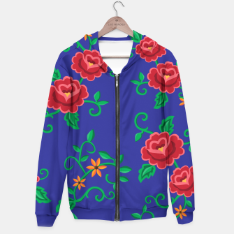 Miniature de image de Folk embroidery with flowers - traditional pattern Bawełniana bluza z zamkiem, Live Heroes