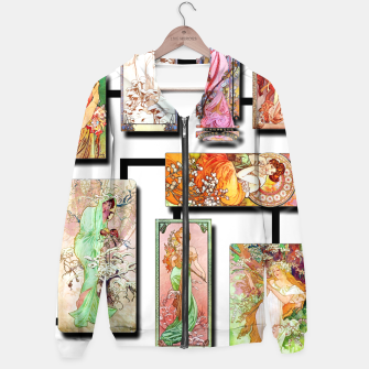 Thumbnail image of Alphonse Mucha Collage 01 Cotton zip up hoodie, Live Heroes
