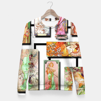 Thumbnail image of Alphonse Mucha Collage 01 Woman cotton sweater, Live Heroes