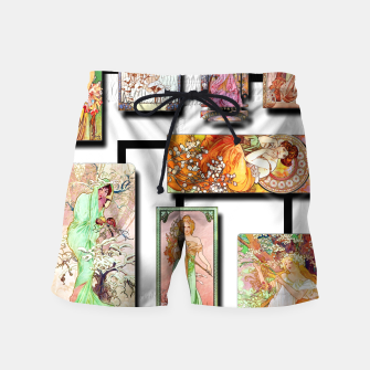 Thumbnail image of Alphonse Mucha Collage 01 Swim Shorts, Live Heroes