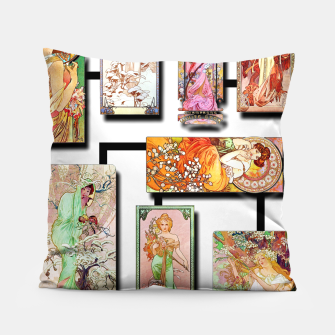 Thumbnail image of Alphonse Mucha Collage 01 Pillow, Live Heroes