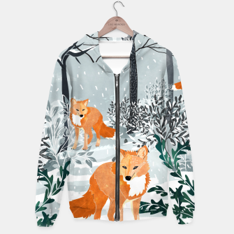 Thumbnail image of Fox Snow Walk Cotton zip up hoodie, Live Heroes