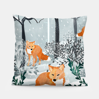 Thumbnail image of Fox Snow Walk Pillow, Live Heroes