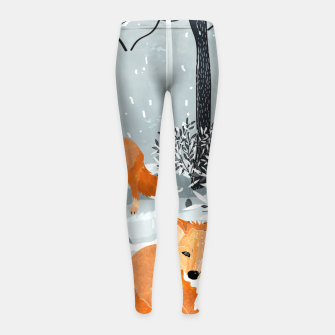 Thumbnail image of Fox Snow Walk Girl's leggings, Live Heroes