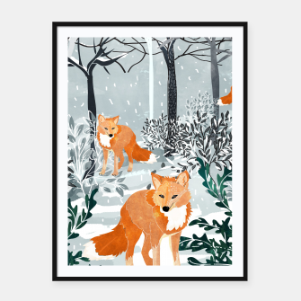 Thumbnail image of Fox Snow Walk Framed poster, Live Heroes