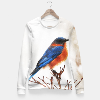 Miniaturka Cute bird in winter Woman cotton sweater, Live Heroes