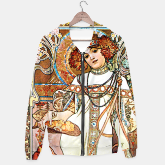 Thumbnail image of Alphonse-Mucha - L'Automne Vintage Art Cotton zip up hoodie, Live Heroes