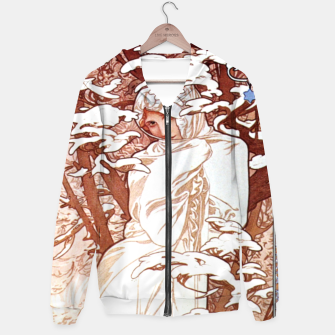 Thumbnail image of Alphonse Mucha - Winter II White Border Cotton zip up hoodie, Live Heroes