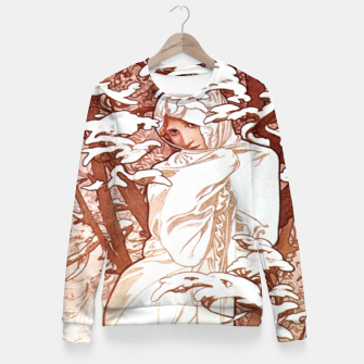 Thumbnail image of Alphonse Mucha - Winter II White Border Woman cotton sweater, Live Heroes