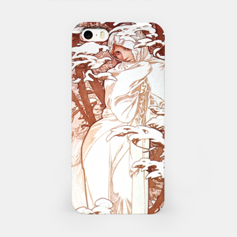 Thumbnail image of Alphonse Mucha - Winter II White Border iPhone Case, Live Heroes