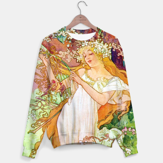 Thumbnail image of Alphonse Mucha Spring White Border Cotton sweater, Live Heroes