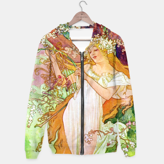 Thumbnail image of Alphonse Mucha Spring White Border Cotton zip up hoodie, Live Heroes