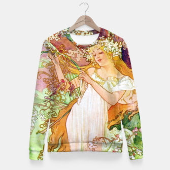 Thumbnail image of Alphonse Mucha Spring White Border Woman cotton sweater, Live Heroes