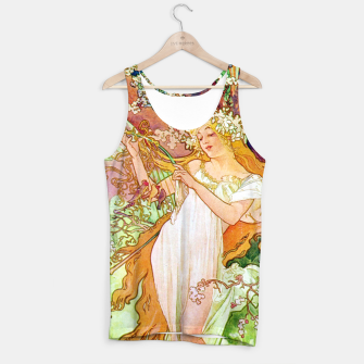Thumbnail image of Alphonse Mucha Spring White Border Tank Top, Live Heroes