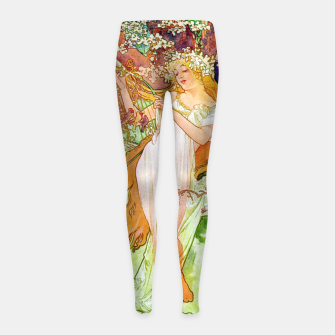 Thumbnail image of Alphonse Mucha Spring White Border Girl's leggings, Live Heroes
