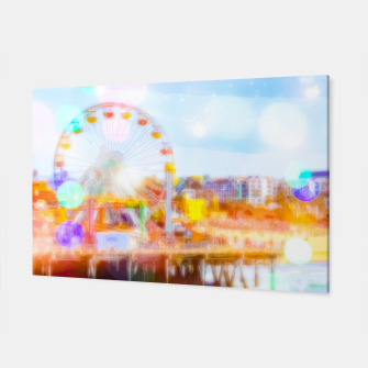 Thumbnail image of Santa Monica pier, California, USA with colorful bokeh abstract Canvas, Live Heroes