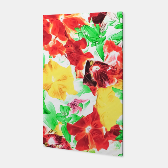 Thumbnail image of red flower and yellow flower with green leaf abstract background Canvas, Live Heroes