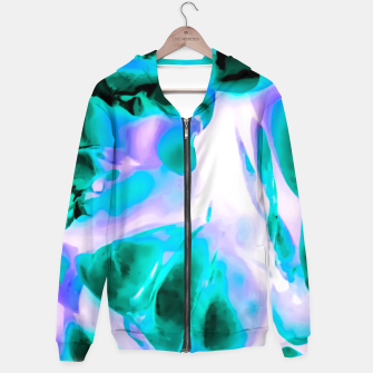 Thumbnail image of closeup rose texture abstract background in blue purple and green Cotton zip up hoodie, Live Heroes