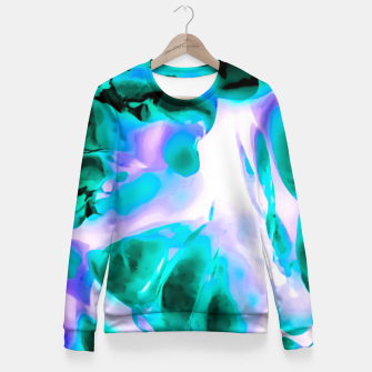 Thumbnail image of closeup rose texture abstract background in blue purple and green Woman cotton sweater, Live Heroes