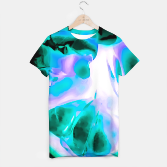 Thumbnail image of closeup rose texture abstract background in blue purple and green T-shirt, Live Heroes