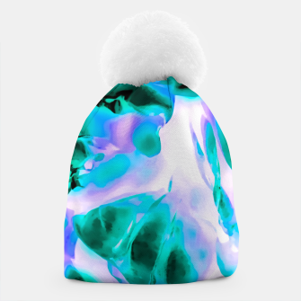Thumbnail image of closeup rose texture abstract background in blue purple and green Beanie, Live Heroes