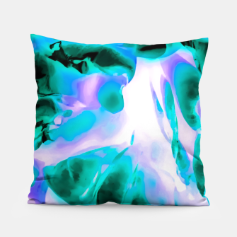 Thumbnail image of closeup rose texture abstract background in blue purple and green Pillow, Live Heroes
