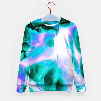 Thumbnail image of closeup rose texture abstract background in blue purple and green Kid's sweater, Live Heroes