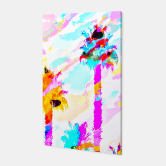 Thumbnail image of palm tree with colorful painting texture abstract background in pink blue yellow red Canvas, Live Heroes