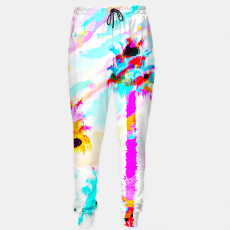 Thumbnail image of palm tree with colorful painting texture abstract background in pink blue yellow red Cotton sweatpants, Live Heroes