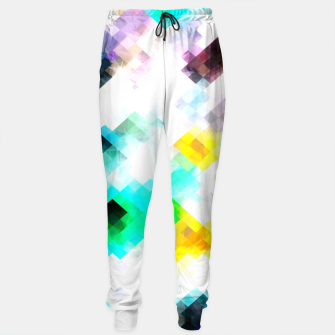 Thumbnail image of psychedelic geometric pixel abstract pattern in blue green yellow pink Cotton sweatpants, Live Heroes