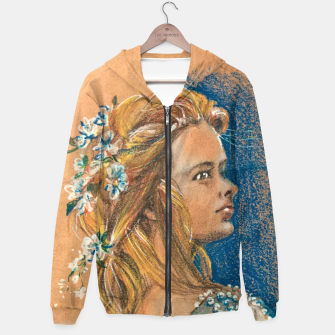 Thumbnail image of flowergirl yuliakorneva v1 Cotton zip up hoodie, Live Heroes