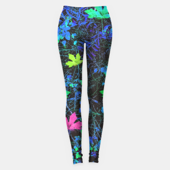 Thumbnail image of maple leaf in pink green purple blue yellow with blue creepers plants background Leggings, Live Heroes