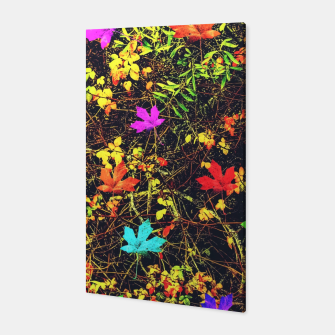 Thumbnail image of maple leaf in blue red green yellow pink orange with green creepers plants background Canvas, Live Heroes