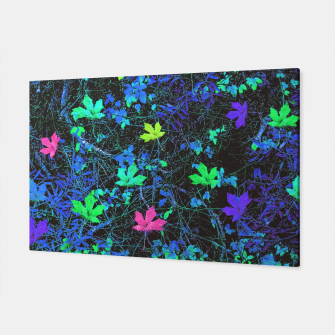 Thumbnail image of maple leaf in pink green purple blue yellow with blue creepers plants background Canvas, Live Heroes