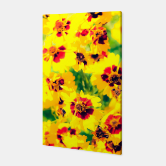 Thumbnail image of blooming yellow flower with green leaf background Canvas, Live Heroes