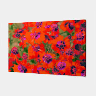 Thumbnail image of blooming red flower with green leaf background Canvas, Live Heroes