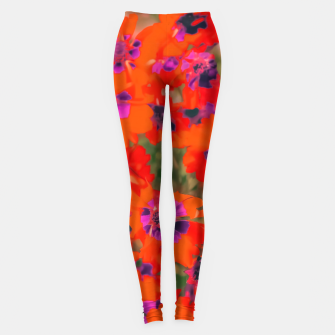 Thumbnail image of blooming red flower with green leaf background Leggings, Live Heroes