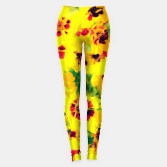 Thumbnail image of blooming yellow flower with green leaf background Leggings, Live Heroes