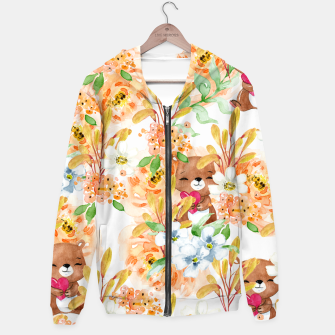 Thumbnail image of Valentines Bears Cotton zip up hoodie, Live Heroes