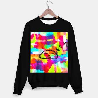 Thumbnail image of sleeping cartoon face with painting abstract background in red pink yellow blue orange Sweater regular, Live Heroes